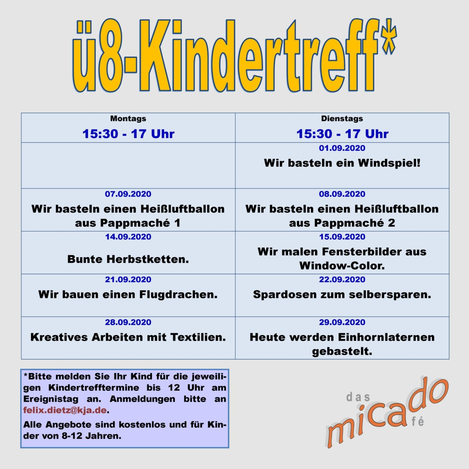 Kindertreff Programm September